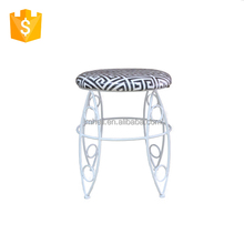 living room round tube upholstered steel bench/little foot stool