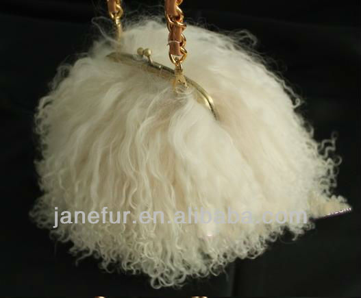 2017 New Collection Mongolian Lamb Fur Hand Bag With Long Metail Shoulder Belt/Wholesale And Retail