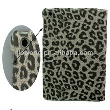 FL621 STOCK MARKET tablet leather case for ipad mini, leopard pattern wallet case for ipad mini sleep wake cover pouch