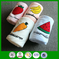 new design fruit embroidery applique patch designs coral fleece blanket/air conditioner blanket for baby