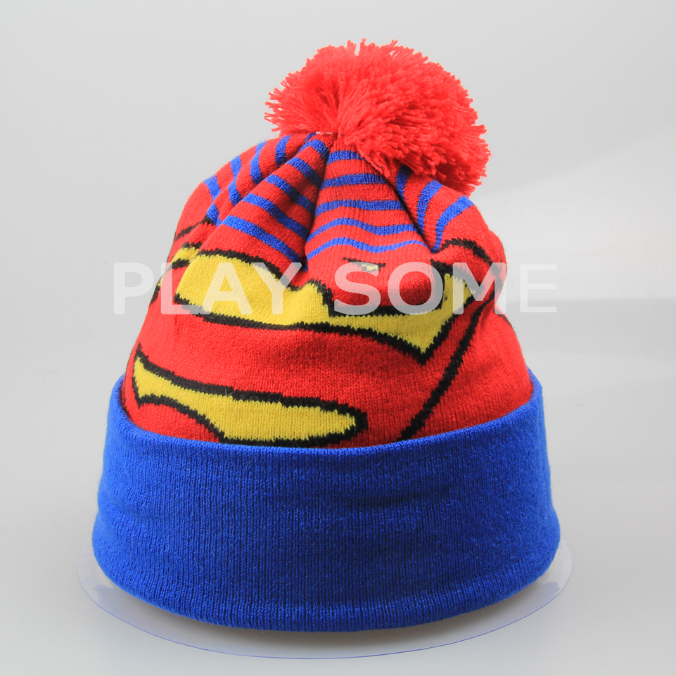 Promotional superman crochet winter hats with ball on top