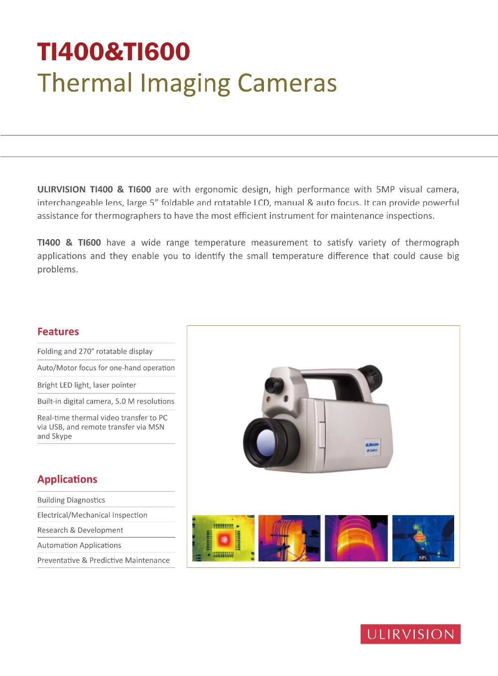 Thermal Imaging Camera TI400 temperature measure