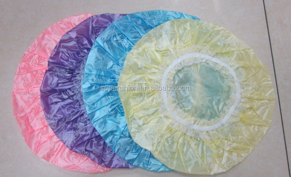 PE material disposable pink/blue/yellow shower caps