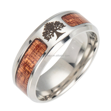 Factory direct stainless steel tree pattern ring creative inlay wooden ring