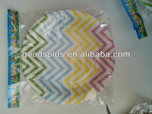 Multicolour wave style dinner paper plates and cups