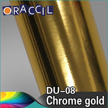 Auto Vinyl Sticker 1.52x20M Stretch Chrome Gold Car Wrap Film Decals