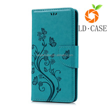 Color painting PU leather lanyard wallet cell phone case for samsung galaxy