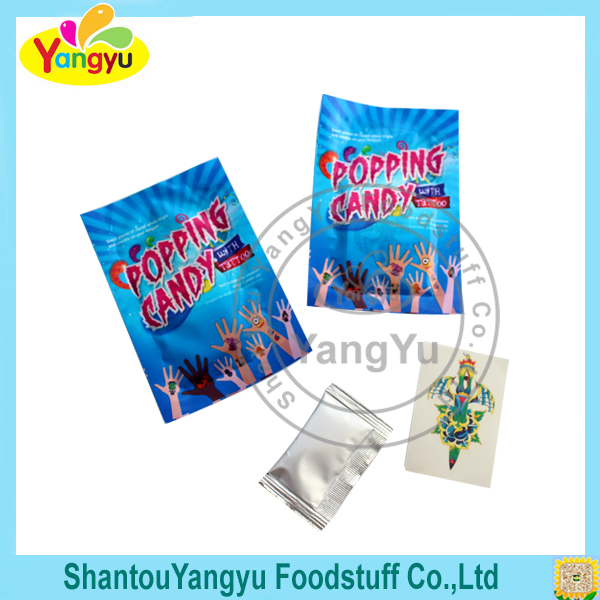 2g Pop rock candy fruit popping candy with tattoo