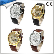 2017 Leather Band Stainless Steel Skeleton Mechanical Men Watch For Man Gold Mechanical Sport WristWatch Aliexpress MW-12