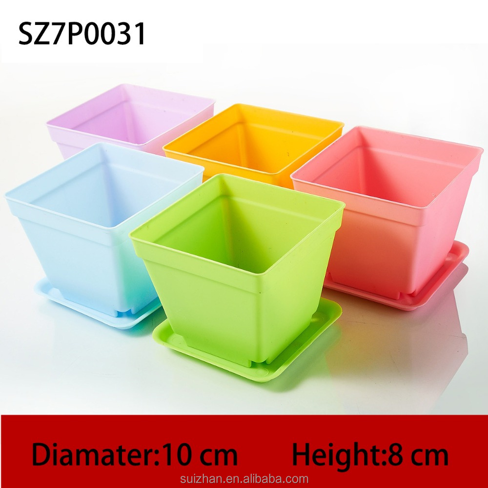 Cheap Price Big Square Colored Plant Pot Plastic Durable Flower Pots For Indoor Decoration