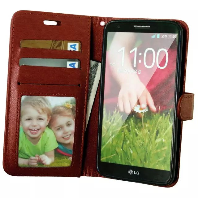 For LG G2 Novel Leather Case with Photo Frame Card Holder Stand fundas Mobile Phone Cover cases