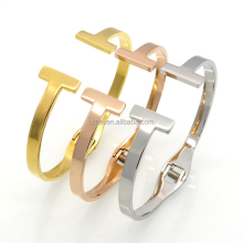 Fashion Jewelry Top Quality Stainless Steel Gold Color Spring Snap Bracelet Double T Bangle For Women Jewelry Bangles Wholesale