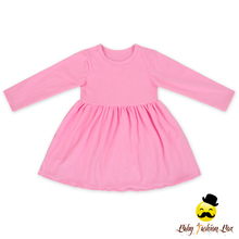 Adorable Long Sleeve Ruffle Plain Pink Baby Girls Cotton Frock Designs Girl Child Dress