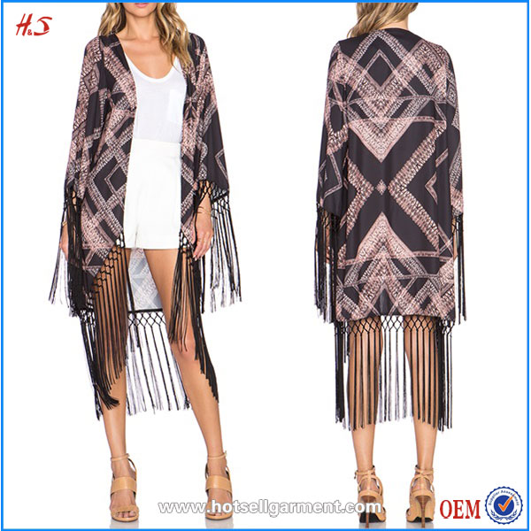 Bulk Wholesale Clothing for Sale Wholeslae Latest Top Design Fringe Kimono Jacket for Women