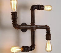 Vintage Industrial Creative 4 Heads Wall Sconce Water Pipe Wall Light for Indoor decoraton