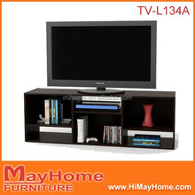 Modern simple design wooden lcd tv table with showcase