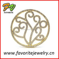 gold round thin line pave setting charm jewelry hockey gold pendant