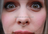 Tribal Unique Non Piercing Fake Septum Piercing Brass Gold Plated Adjustable Nose Ring