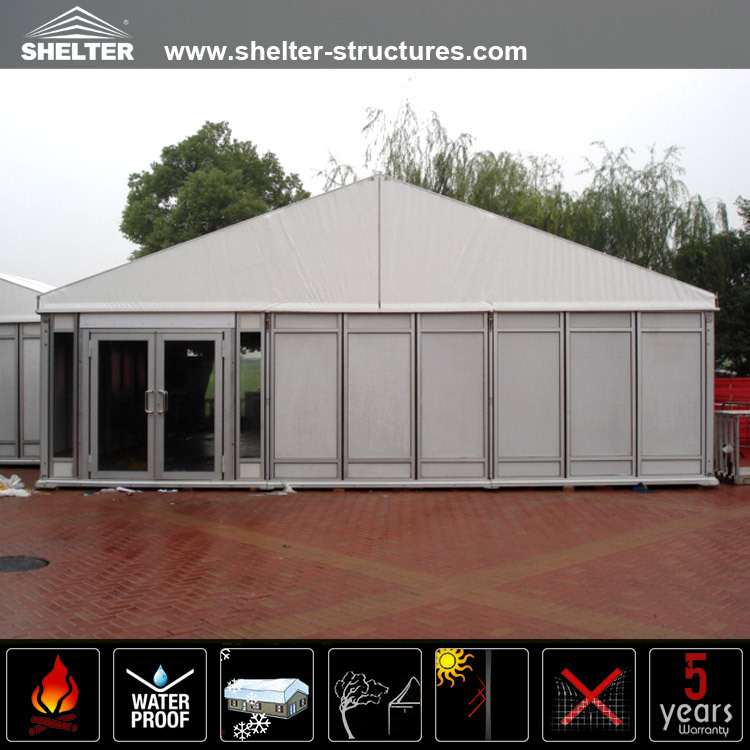 Outdoor Long life span party or warehouse tent with glass door for sale