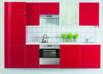 Factory Made Luxury High Gloss Red Lacquer Kitchen Cabinets S08