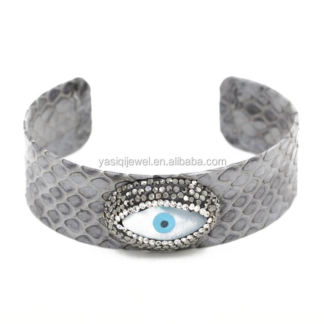 evil eye cuff bangle charm jewelry pearl bead bracelet, leather bangle bracelet men