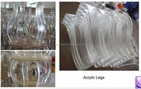 Transparent plexiglass table leg extender /acrylic chair leg