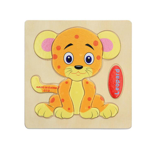 Kid Early educational toys econ-friendly EU standard good quality solid 3 D flat cartoon design custom OEM wood animal puzzle