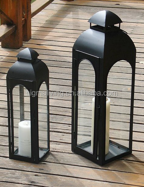 Portable Outdoor Glass Wind Lamp Decoration Wind Lamp Wedding Wrought Iron Candlestick