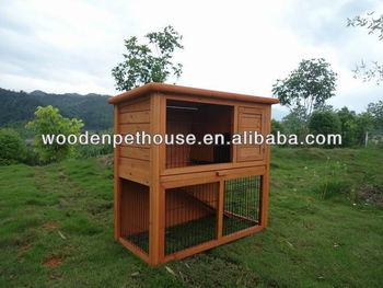 Double-deck Wooden Rabbit Hutch
