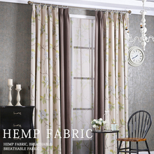Hot Selling 100% Polyester Faux Linen Window Curtain for the living room