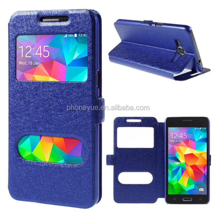 smart double window pu leather flip phone cover case for huawei ascend y560/g730
