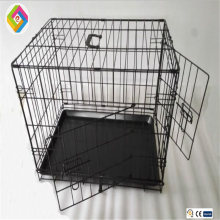 Foldable iron metal dog house single door pet transport cage with heavy metal wire removable plastic tray pet shop