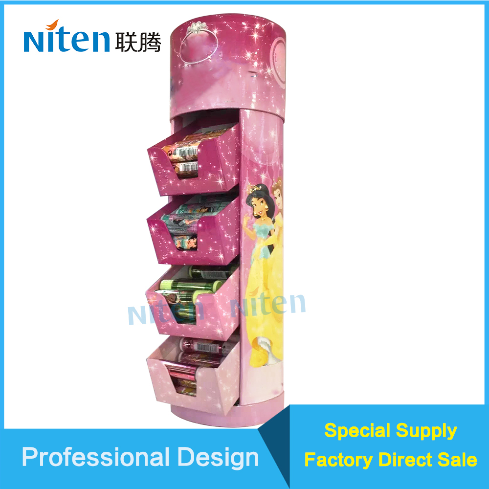 Customized Pop Paper Floor Display Stand Shelf for Toys dolls shelf