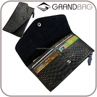 luxury genuine snake skin leather cow leather ladies bifold clutch wallet cheque book holder wallet