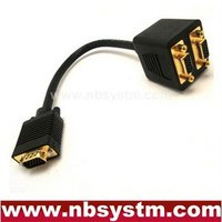 2 monitor to 1 pc VGA Y Splitter Cable molded