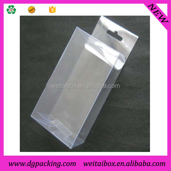 Clear plastic hanging display boxes,custom small plastic packaging box