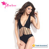 Xxxl Sexy Movis Black Strappy Hollow-out One-piece Swimwear