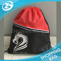 Fashion Sports Nylon Bag Waterproof Polyester Gym Backpack pocket inside with zipper Polyester Drawstring Bag