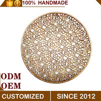 Metal round gold full flower wall decoration