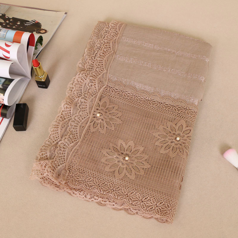 Plain Hollow Lace Hijab With Pearl Shinny White Pearls Scarf Muslim Scarves Wraps Shawl