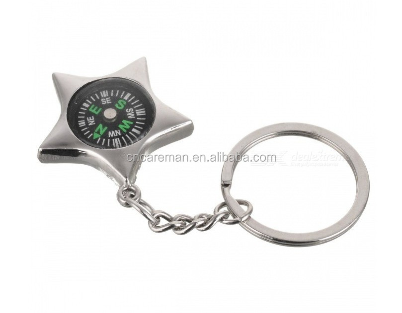 Mini Star Shaped Metal Keychain Compass, Promotion Gift Metal Keyring Compass OEM Orders Accepted
