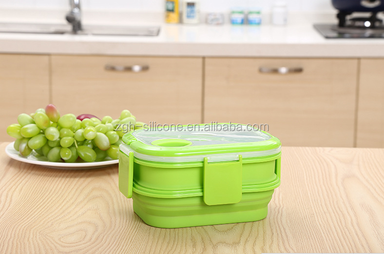 Double Deck Silicone Foldable Lunch Box Hot Selling Microwaveable