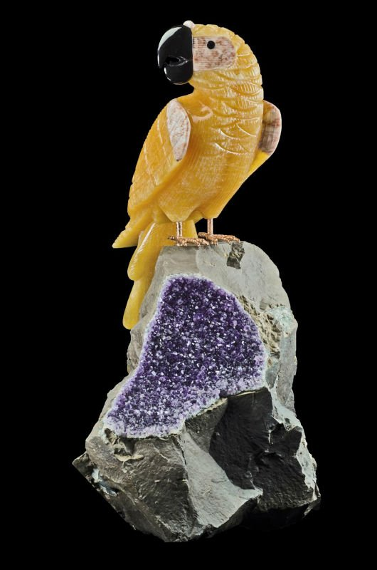 Orange Calcite Parrot with big Druze