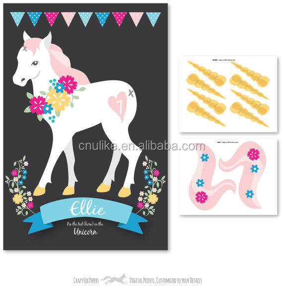 DIY Unicorn party supplies Pin the tail & horn on the Unicorn party game party favor glitter unicorn decorations for girls gift