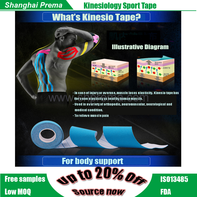 Fashion latest high quality kinesiology muscle tape New style professional precut kinesiology tape israel muscle tape