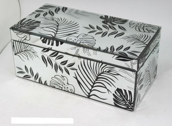 etched beveled glass silkscreen decor mirrored trinket box,gift case,promotional display box