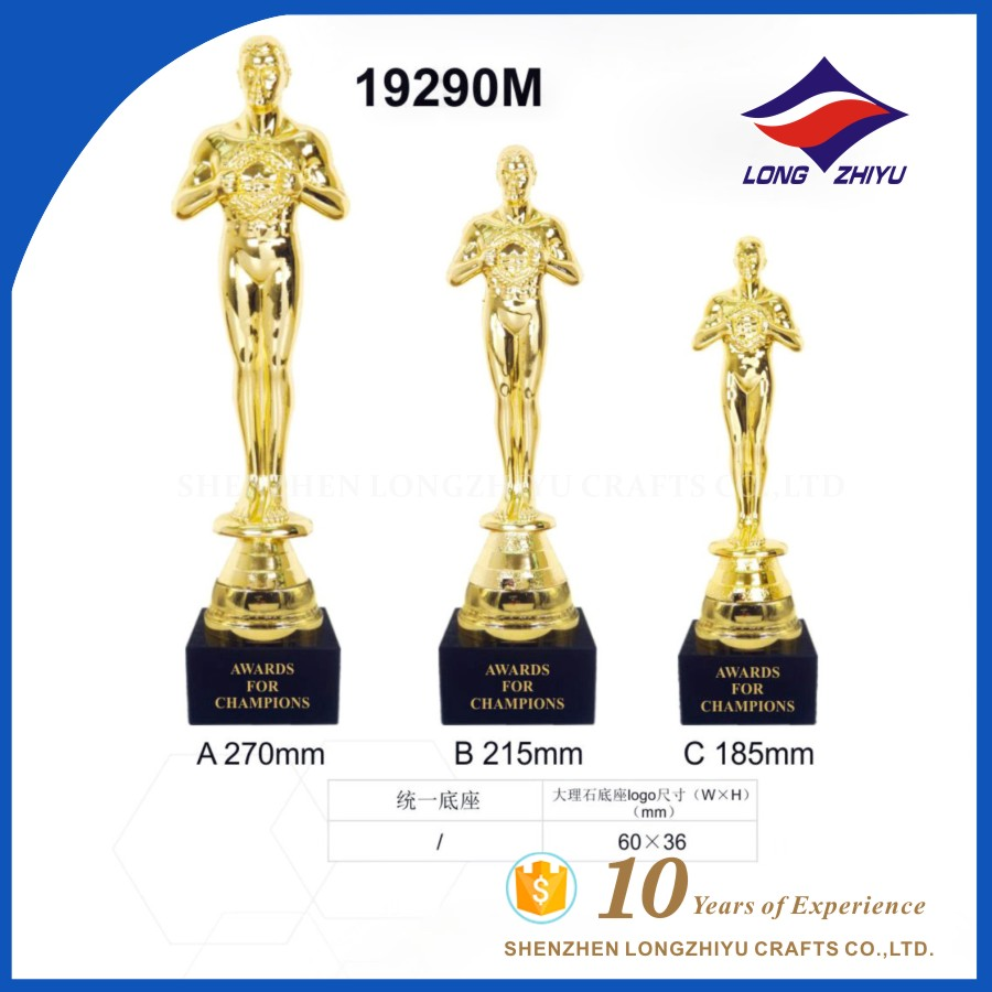 Shenzhen factory supply free mould replica trophy for oscar