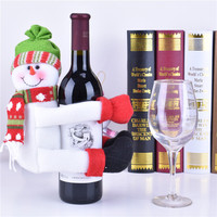Christmas Home Decorations Santa Claus Snowman Wine Bottle Cover, Wine Bottle Decorations