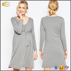 Ecoach Wholesale 2016 Relaxed fit women Wrap design long sleeves Open front pregnant woman wear Lightweight jersey Nursing Robe