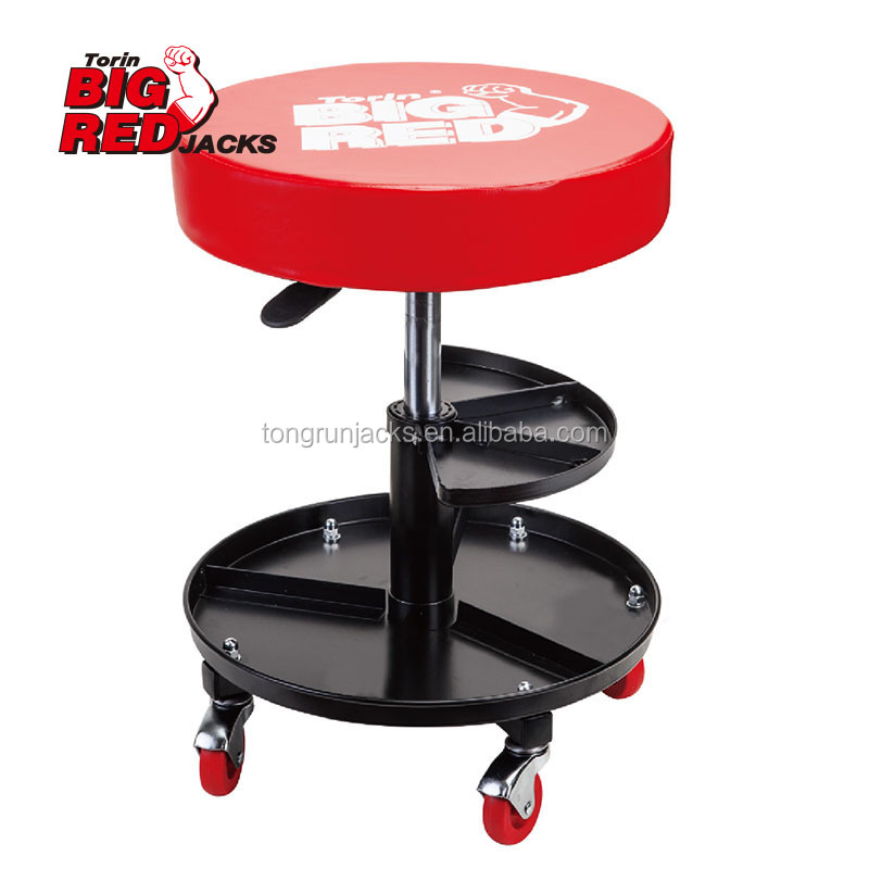 Pneumatic Rolling Wheels Creeper Chair Adjustable double shelves work Seat Stool Chair Repair Tools Tray Shop Auto TR6201J
